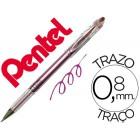 Esferografica roller metalica pentel bg 208 rosa 0.4 mm ideal para papel e madeira suave secagem rapida
