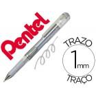 Roller pentel hybrid gel k230m ponta de 1.0 mm cor prata