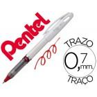 Roller pentel energel tradio corpo na cor branco ponta 0.7 mm e tinta vermelha