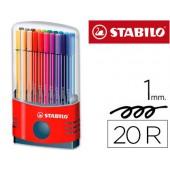 Marcador stabilo pen 68 ponta de fibra cor parade estojo de 20 marcadores