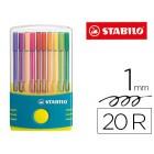 Marcador stabilo pen 68 ponta media parade estojo de cor turquesa 20 unidades cores sortidas