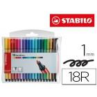 Marcador stabilo aguarelavel pen 68 mini estojo de 18 cores sortidas