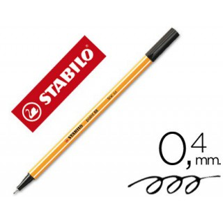 Marcador stabilo ponta de fibra point 88 preto 0.4 mm