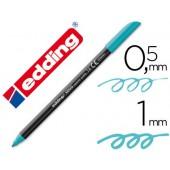 Marcador edding ponta fibra 1200 azul turquesa n. 14 -ponta redeonda 0.