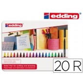 Marcador edding ponta fibra 1200 caixa de 20 cores sortidas ponta redonda 0.5 mm
