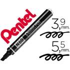 Marcador pentel n60 permanente biselado preto