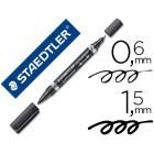 Marcador staedtler lumocor permanente duo 348 preto ponta f 0.6 mm ponta m 1.5 mm