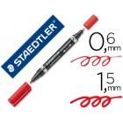 Marcador staedtler lumocor permanente duo 348 vermelho ponta f 0.6 mm ponta m 1.5 mm