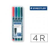 Marcador lumocolor retroprojeccao 317-5 ponta 0.8-1mm verde estojo 4 unidades