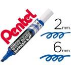 Marcador pentel mwl6 maxiflo quadro br. biselado azul