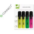 Marcador fluorescente q-connect sortido -2 amarelo. 1 verde. 1 rosa -blister de 4 unidades