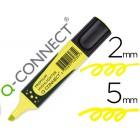 Marcador fluorescente q-connect amarelo premium ponta biselada com pega de borracha