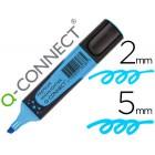 Marcador fluorescente q-connect azul premium ponta biselada com pega de borracha