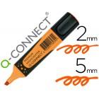 Marcador fluorescente q-connect laranja premium ponta biselada com pega de borracha