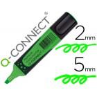 Marcador fluorescente q-connect verde premium ponta biselada com pega de borracha