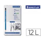 Lapis de grafite straedtler mars lumograph 100 caixa metalica de 12 lapis 8b- 7b-6b-5b-4b-3b-2b-b-hb-f-h-2h