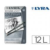 Lapis de grafite lyra rembrand art design caixa de 12 graduacoes 6b-5b-4b-3b 2b-b-hb-f-h-2h-3h-4h