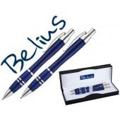 Conjunto de esferografica e lapiseira belius kassel azul com detalhes prateados em estojo