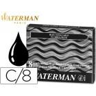 Tinta estilografica waterman preta-caixa 8 cartuchos