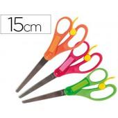 Tesoura escolar liderpapel 15 cm com recorte para facilitar o corte unidade