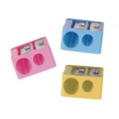 Apara-lapis mor 332 plastico rectangular dois usos cores sortidas