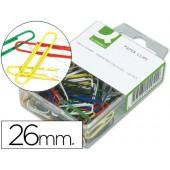 Clips de cores sortidas q-connect - 26 mm. - caixa de 125