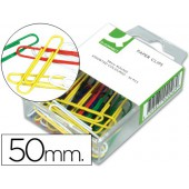 Clips de cores sortidas q-connect - 50 mm. - caixa de 50