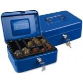 Cofre com bandeja para moedas q-connect 200x90x160 mm- azul