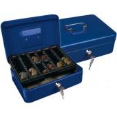 Cofre com bandeja para moedas q-connect 250x90x180 mm- azul