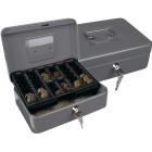 Cofre com bandeja para moedas q-connect 250x90x180 mm- prata