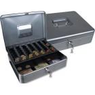 Cofre com bandeja para moedas q-connect 300x90x240 mm- prata