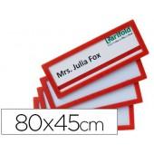 Moldura para identificação tarifold adesiva 80x45 mm vermelha pack de 4 unidades