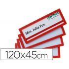 Moldura para identificação tarifold adesiva 120x45 mm vermelha pack de 4 unidades
