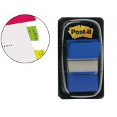 Bandas post-it index 3m. 25.4x43.1 mm. azul -dispensador de 50
