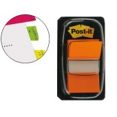 Bandas post-it index 3m. 25.4x43.1 mm. laranja -dispensador de 50