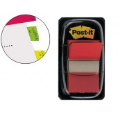 Bandas post-it index 3m. 25.4x43.1 mm. vermelha -dispensador de 50
