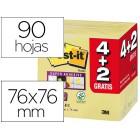 Bloco de notas adesivas post-it super sticky 76x76 mm amarelo canario 90 folhas pack 4+2 gratis