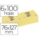 Bloco de notas adesivaspost-it super sticky 76x127 mm  com 6 blocosos amarelo canario