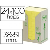 Bloco de notas adesivas post-it recicladas em torre38 x 51 mm. 24 blocos