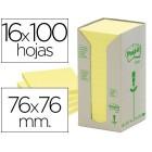 Bloco de notas adesivas post-it recicladas em torre 76 x 76 mm. 16 blocos
