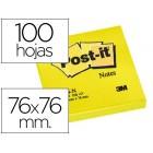 Bloco de notas adesivas post-it amarelo 76 x 76 mm