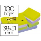 Bloco de notas adesivas post-it 38x51 mm ultra intenso surtido pack de 12 blocs