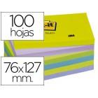 Bloco de notas adesivas post-it intenso 76 x 127 mm