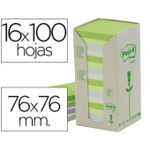 Bloco de notas adesivas recicladas post-it em torre76 x 76 mm 16 blocs 654 reciclado cores