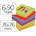 Bloco de notas adesivas post-it super sticky 76x76 mm com 90 folhas pack de 6 bloco cores sortidas colecao marrakesh