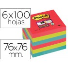 Bloco de notas adesivaspost-it super sticky 76x76 mm com 6 blocos 2 vermelhos  verde neon  azul