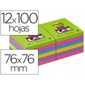 Caderno de notas adesivas post-it super stick ultra 76x76 mm pack de 12 caderno verde rosa amarelo lilass e fucsia