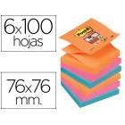 Bloco de notas adesivaspost-it super sticky 76x76 mm zigzag com 6 blocos 2 rosa laranja neon azul