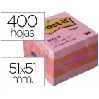 Bloco de notas adesivas post-it tira e poe post-it 51x51 mm minicubo cor rosa 2051-p 400 folhas