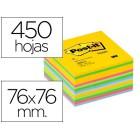 Bloco de notas adesivas post-it 76x76 mm gama ultra alegria cubo de 450 folhas
